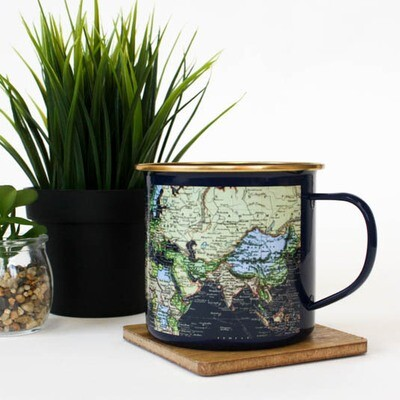 Blue Enamel Map Mug