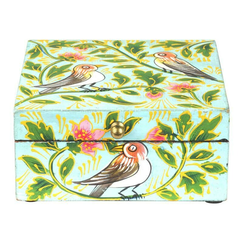 Hand Painted Square Wooden Box 65009