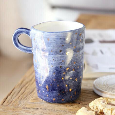 Navy Gold Fleck Mug