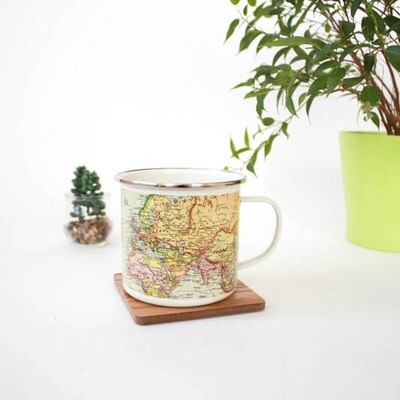 Pale Enamel Map Mug