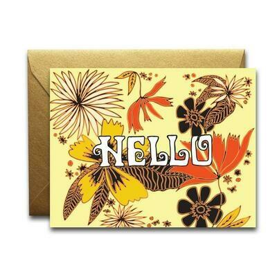 Hello Floral Print Card