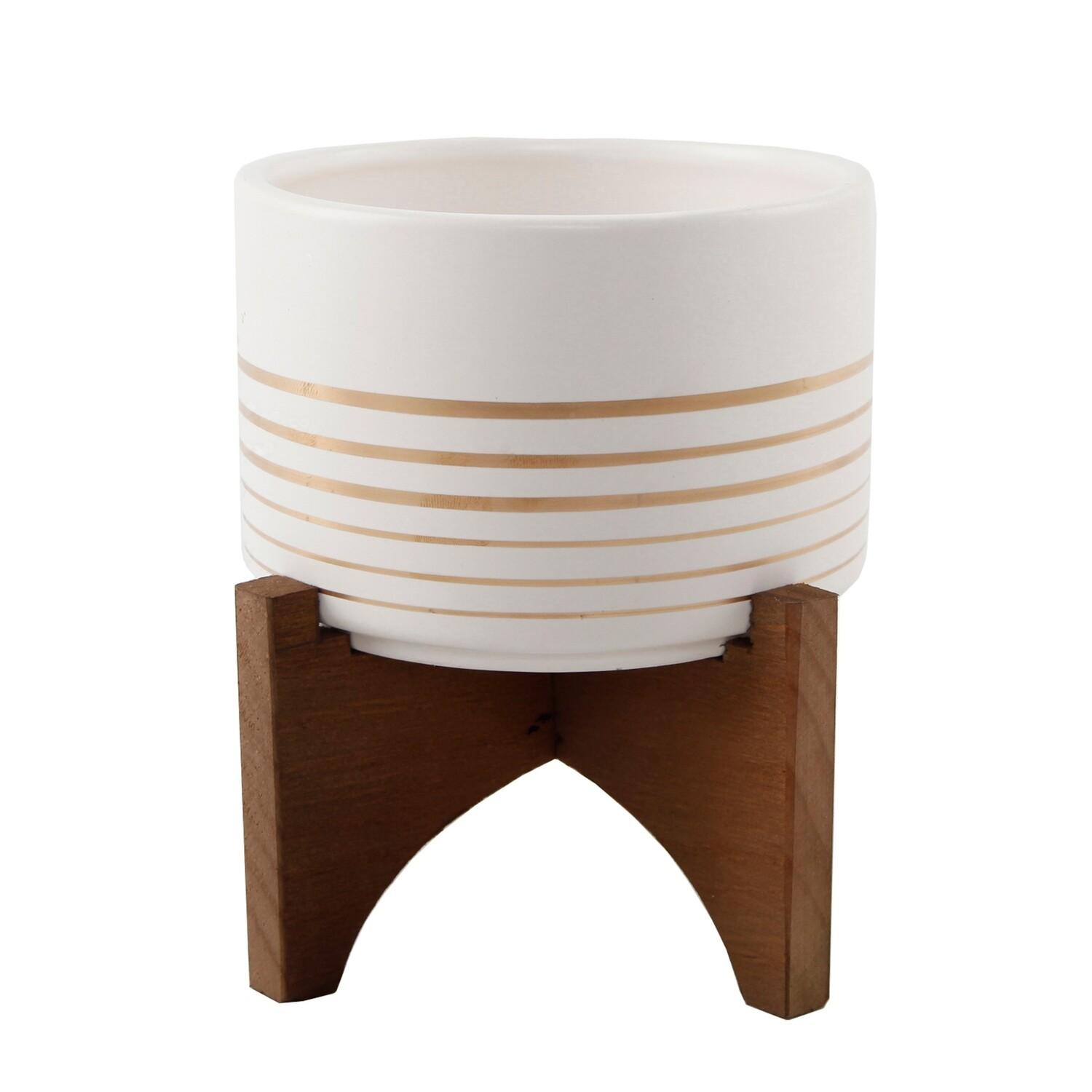 White Geo With Wood Stand 5
