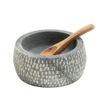 Round Granite Salt and Spoon Set Df3654