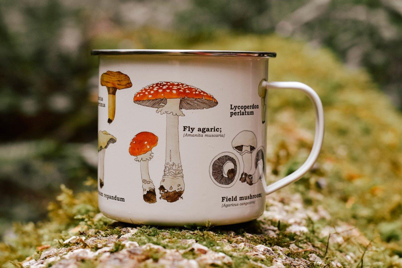 mushroom enamel mugs
