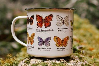 butterfly enamel mug