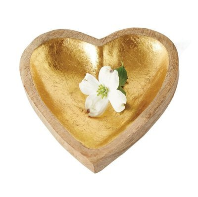 mangowood heart with gold leaf da6467