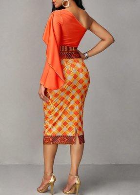 Orange One Shoulder Top and Printed Skirt