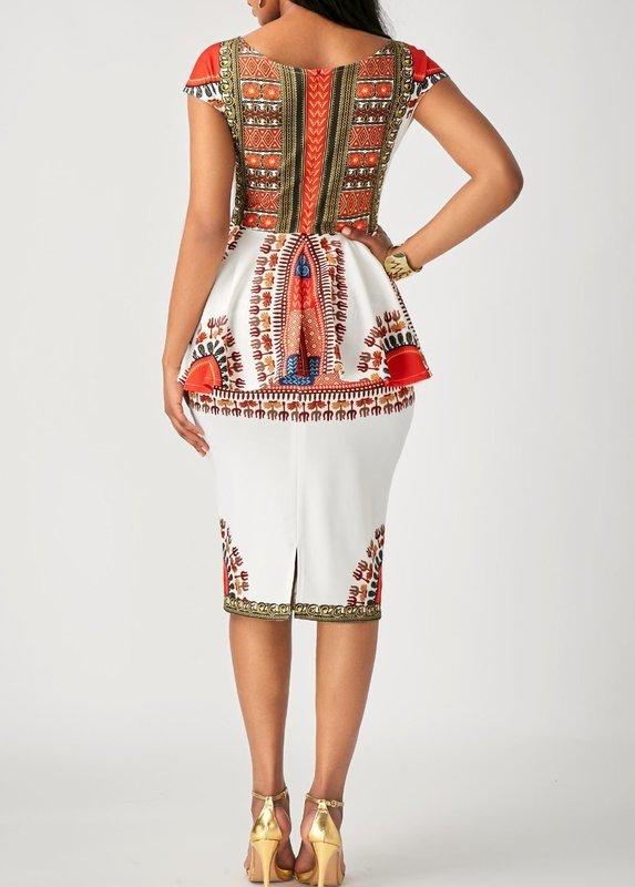 White Peplum Waist Printed Sheath Dress