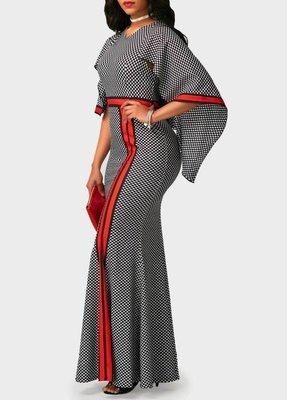 Printed High Waist V Neck Mermaid Dress