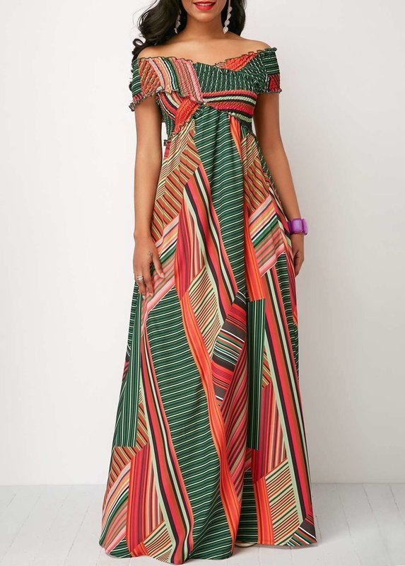 Printed Off the Shoulder Shirred Detail Dress