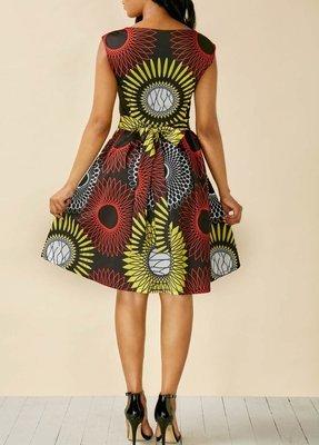 Printed V Neck Sleeveless High Waist Dress
