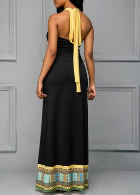 Halter Printed Sleeveless Black Maxi Dress