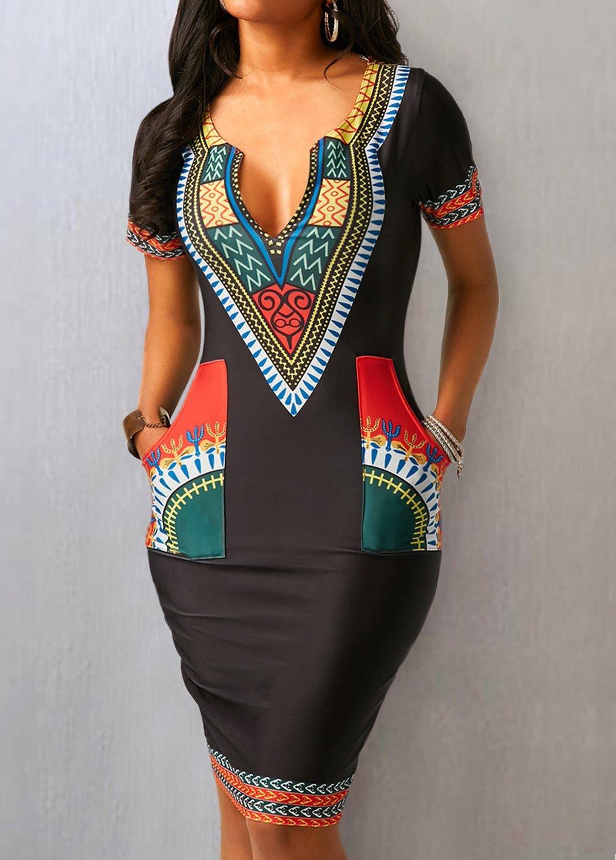 Pocket Split Neck Short Sleeve Dress