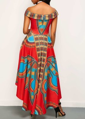 Off the Shoulder High Waist Dashiki Dress