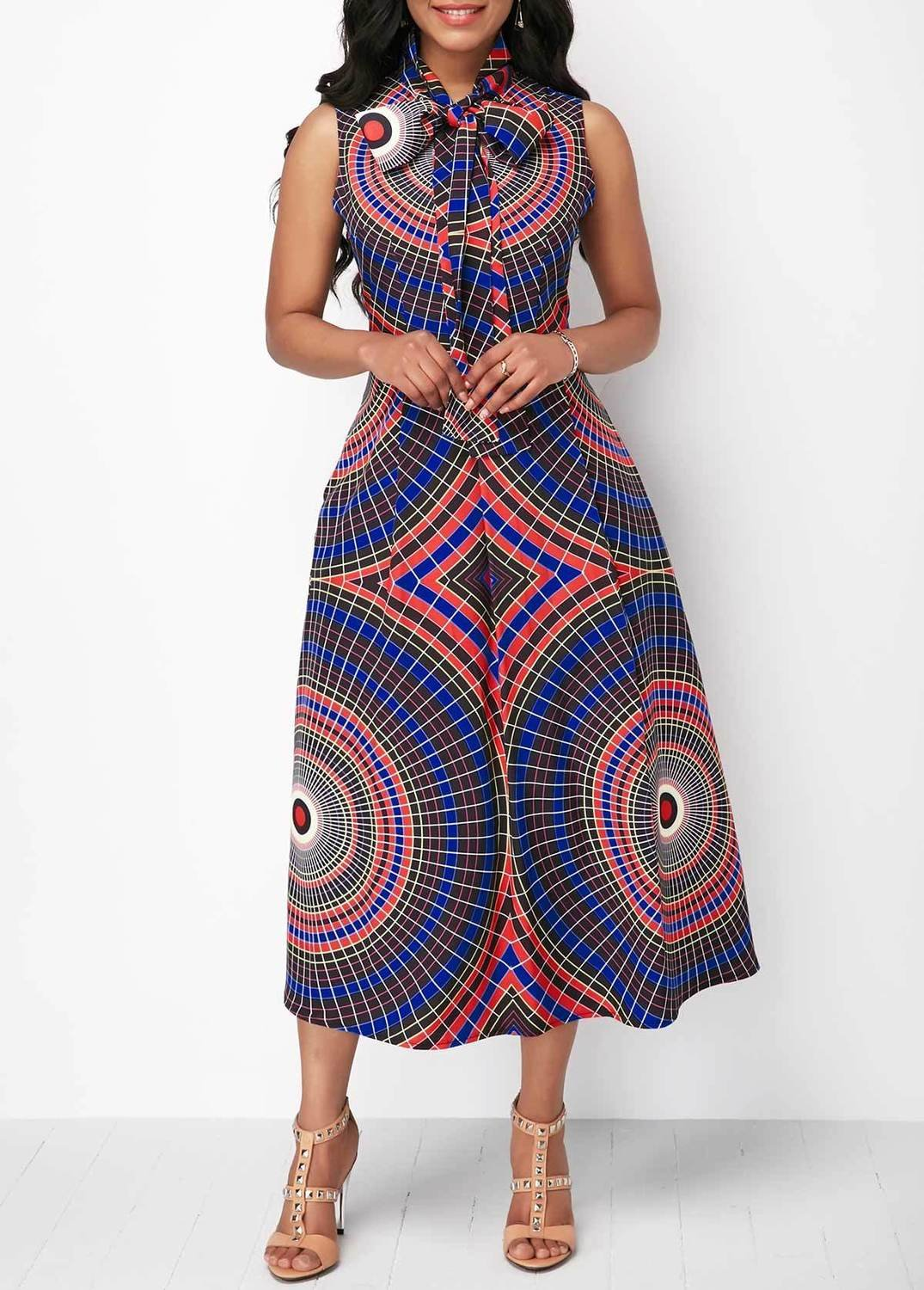 Sleeveless Printed Pocket Bowknot Neck Dress