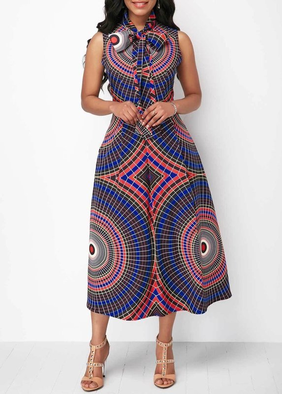 Sleeveless Printed Pocket Bowknot Neck Dress