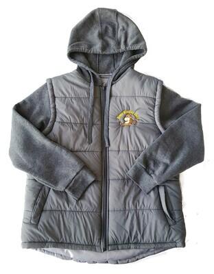 Grey Hooded vest incorporating sweatshirt sleeves