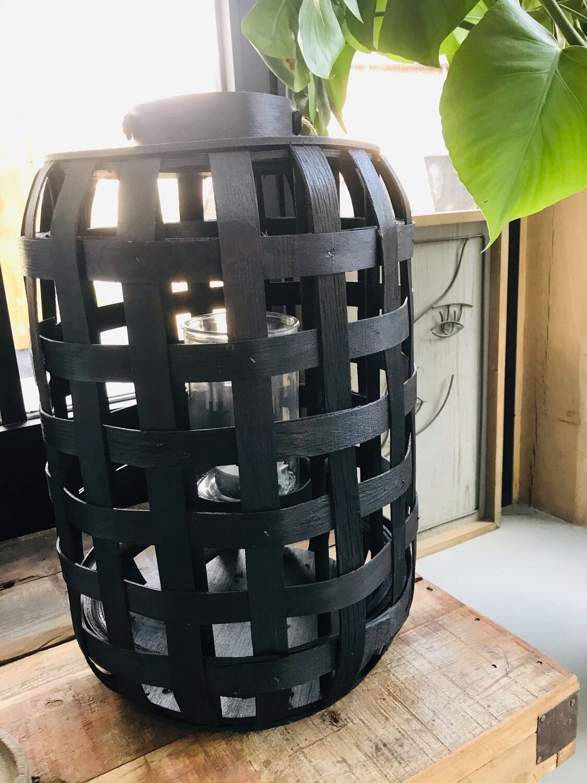 Lantaarn bamboe zwart