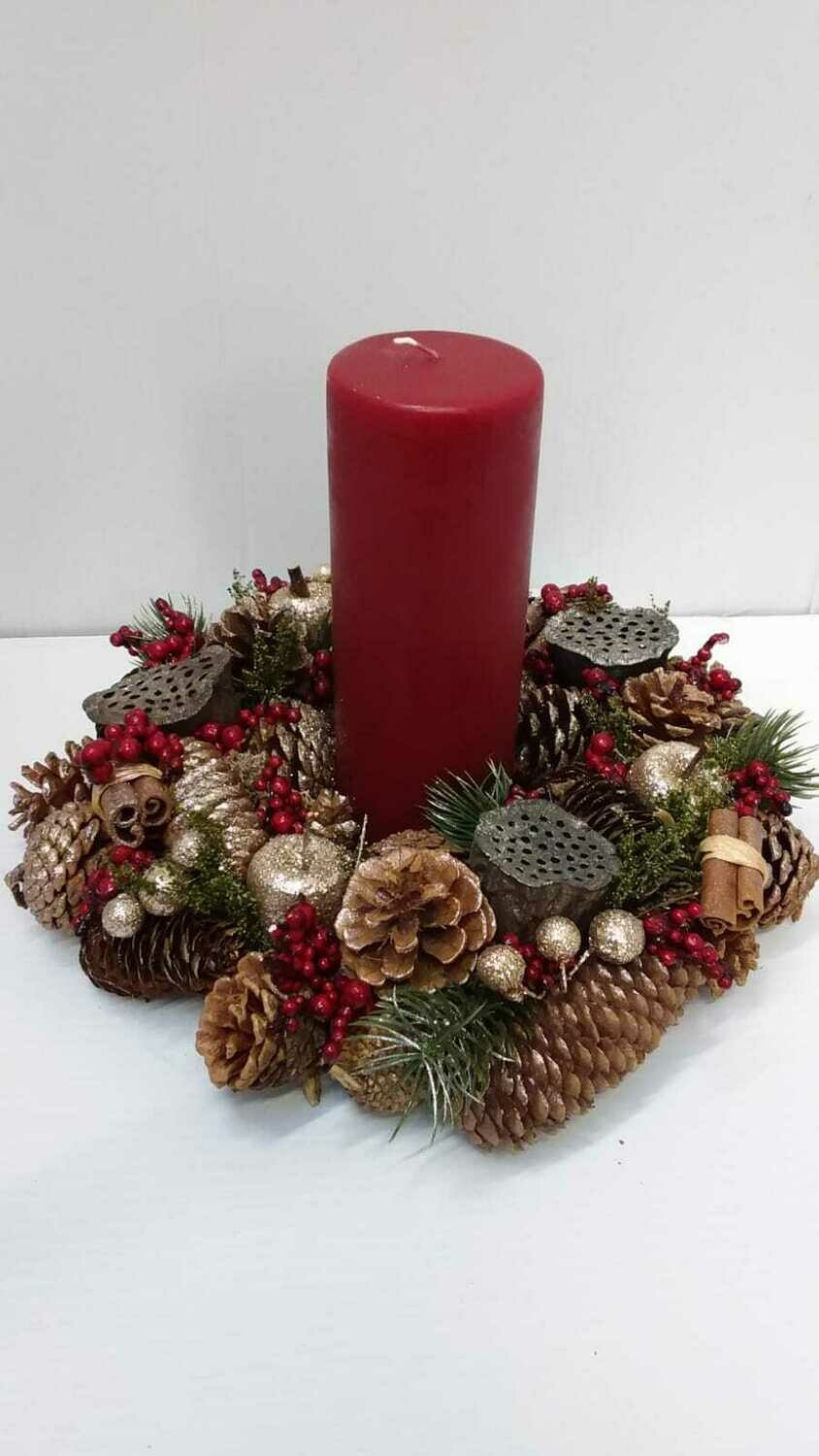 Everlasting table centerpiece including red or white candle 32cm