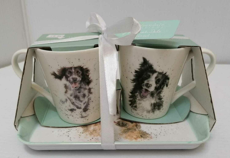 Set of 2 mug with tray