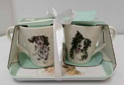 Set of 2 mug with tray