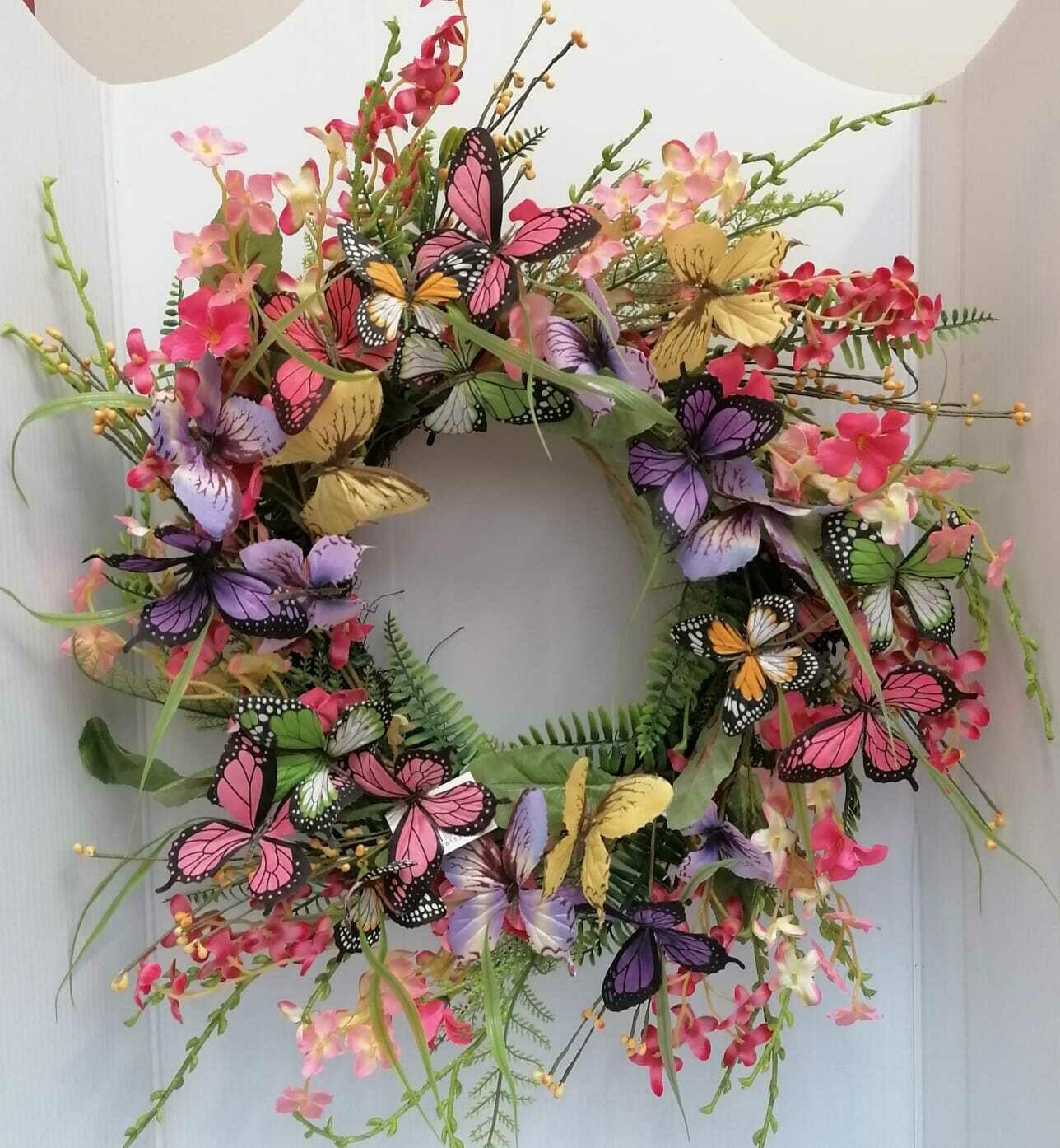 Butterfly door wreath 50 cm