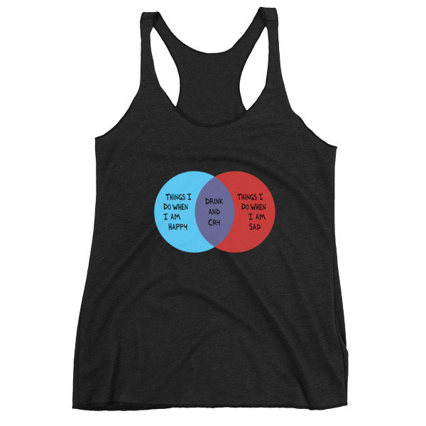Drink and Cry Women's Racerback Tank (Black)
