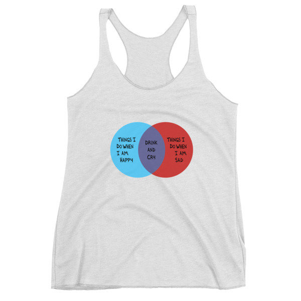 Drink and Cry Women's Racerback Tank (White Heather)