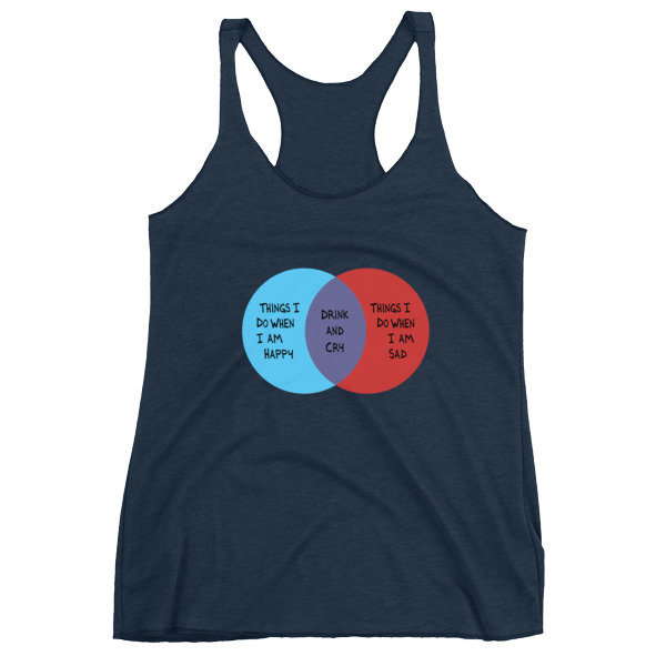 Drink and Cry Women's Racerback Tank (Navy)