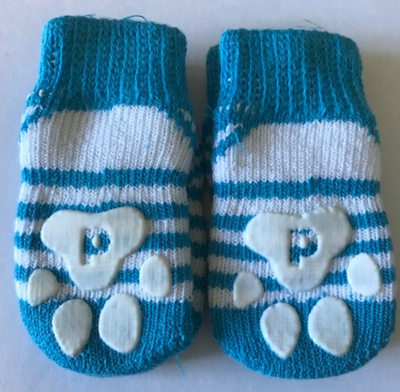 Indoor Dog Socks - Blue with stripes