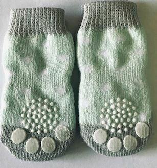 Indoor Dog Socks - Green and Grey