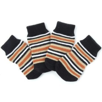 Indoor dog socks. Brown/beige stripes
