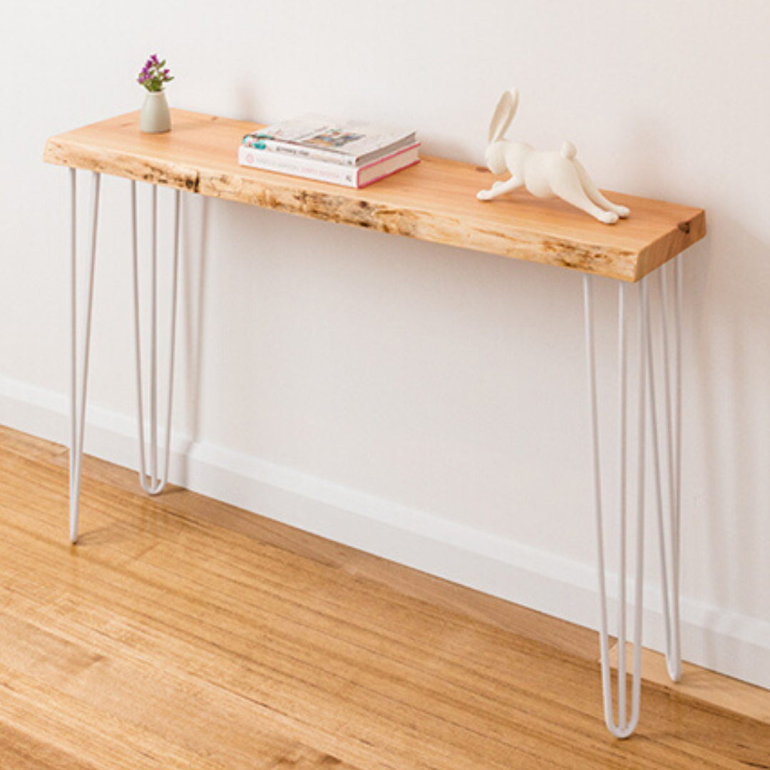 Molly Hall Stand with Natural Edge - White Legs