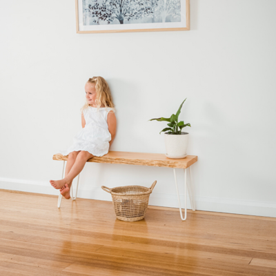 Molly Hall Bench / Seat | Natural Edge - White Legs