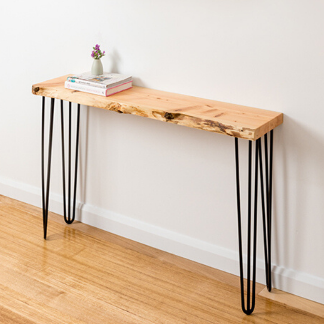 Molly Hall Stand with Natural Edge - Black Legs
