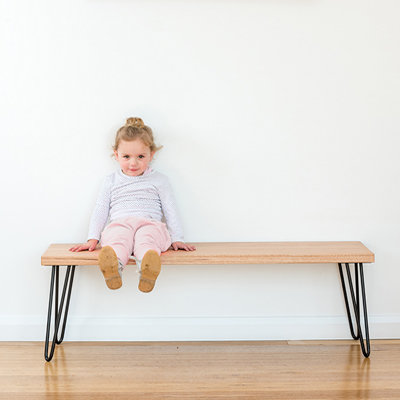 Molly Hall Bench / Seat | Tasmanian Oak - Black Legs