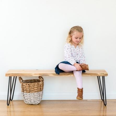 Molly Hall Bench / Seat | Natural Edge - Black Legs