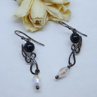 Silver earrings - black Onyx