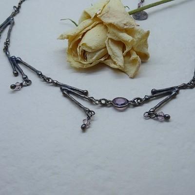 Silver pendant - Amethyst zirconia stones
