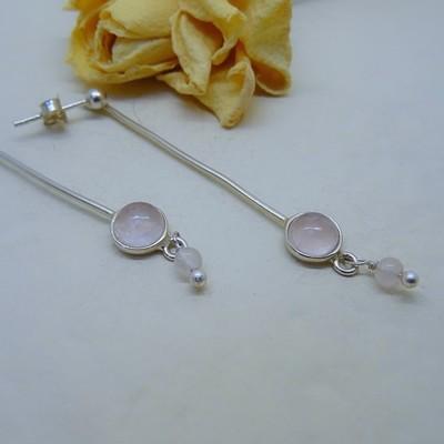 Silver earrings - Rose Quartz