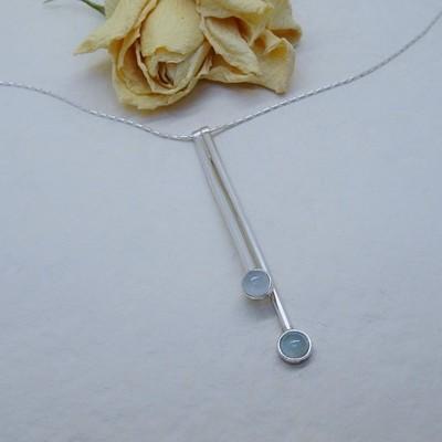 Silver pendant - Aquamarine stones