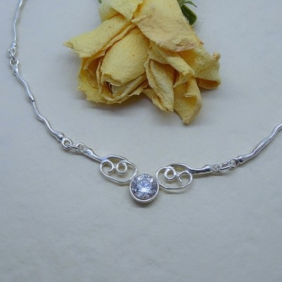 Silver necklace - Crystal stones