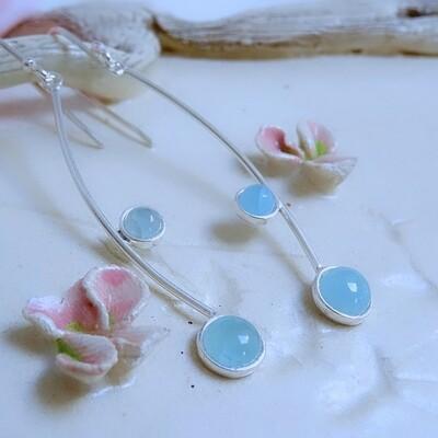 Silver earrings - Aquamarine stones