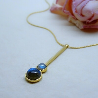Gold plated silver pendant - Labradorite stones