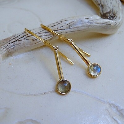 Gold plated silver earrings - Labradorite stones
