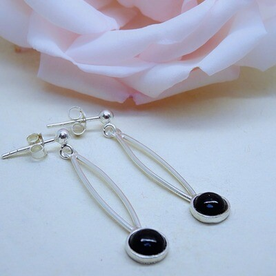 Silver earrings - Black Onyx stones