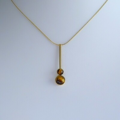 Gold plated silver pendant - Tiger Eye stones