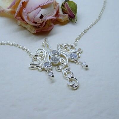 Silver necklace - Zirconia stones