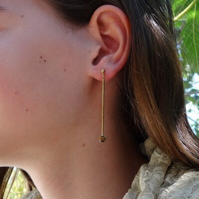 Gold plated silver earrings - Tiger Eye stones