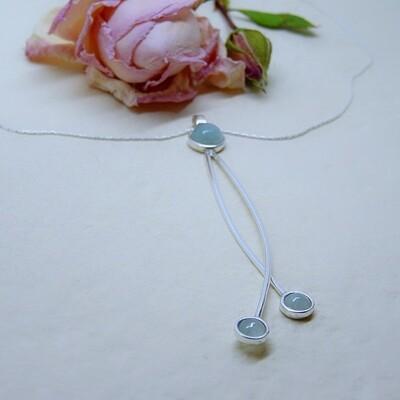 Shiny silver pendant - Aquamarine stones